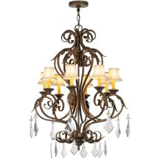 """30"""" W Josephine 8 Lt W/Crystals And Fabric Shades Chandelier"""