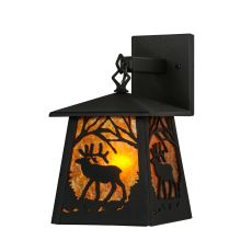 """7"""" W Elk At Dawn Hanging Wall Sconce"""