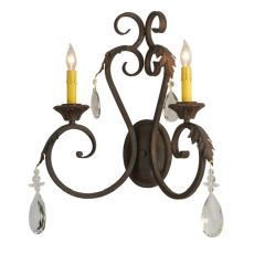 "20"" W Josephine 2 Lt W/Crystals Wall Sconce"