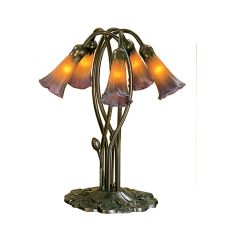 "16.5"" H Amber/Purple Pond Lily 5 Lt Accent Lamp"