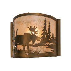 """11"""" W Moose At Lake Wall Sconce"""
