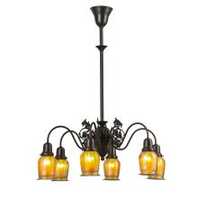 "28"" W Favrile Early Electric 6 Lt Chandelier"
