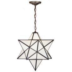 """24"""" W Moravian Star White Pendant"""