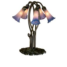 """16.5"""" H Pink/Blue Pond Lily 5 Lt Accent Lamp"""