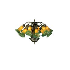 "20"" W Amber/Green Pond Lily 12 Lt Chandelier"