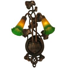 """11"""" W Amber/Green Pond Lily 2 Lt Wall Sconce"""