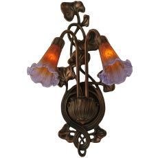 """11"""" W Amber/Purple Pond Lily 2 LT Wall Sconce"""