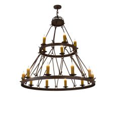 "54"" W Lakeshore 15 Lt Two Tier Chandelier"