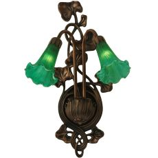 """11"""" W Green Pond Lily 2 Lt Wall Sconce"""
