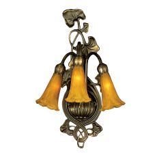 "10.5"" W Amber Pond Lily 3 Lt Wall Sconce"