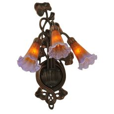 "10.5"" W Amber/Purple Pond Lily 3 Lt Wall Sconce"