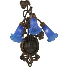 "10.5"" W Blue Pond Lily 3 Lt Wall Sconce"
