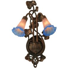 """11"""" W Pink/Blue Pond Lily 2 Lt Wall Sconce"""