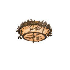 """18"""" W Oak Leaf & Acorn Flushmount"""