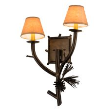 """16.5"""" W Lone Pine 2 Lt Right Wall Sconce"""