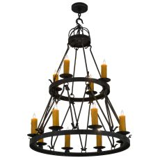 "36"" W Lakeshore 12 Lt Two Tier Chandelier"