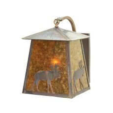 """14"""" W Stillwater Lone Moose Curved Arm Wall Sconce"""