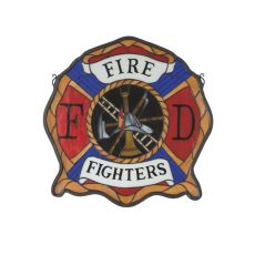 "20"" W X 20"" H Fireman's Shield Stained Glass Window"