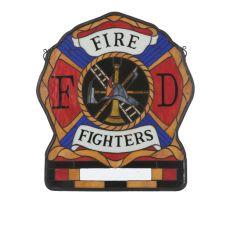 "20"" W X 23"" H Personalized Fireman'S Shield Stained Glass Window"