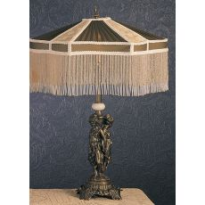 "28"" H Fabric & Fringe Persian Table Lamp"