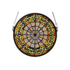 "13"" W X 13"" H Fleur-de-lis Medallion Stained Glass Window"