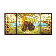 """69.875"""" W X 32.375"""" H Bear Creek Stained Glass Window"""