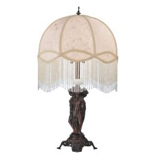 "16"" H Fabric & Fringe Tapestry Dome Ivory Accent Lamp"