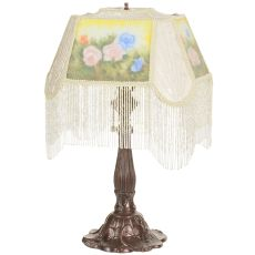"18"" H Reverse Painted Roses Fabric With Fringe Accent Lamp"