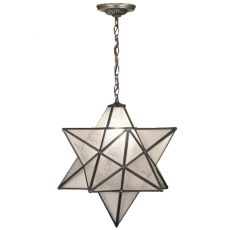 "18"" W Moravian Star Clear Seeded Pendant"