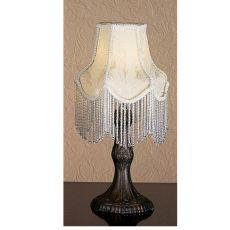 """7"""" H Ivory Fabric With Fringe Mini Lamp"""