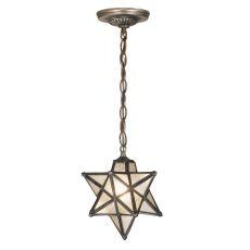 "9"" W Moravian Star Clear Seeded Mini Pendant"