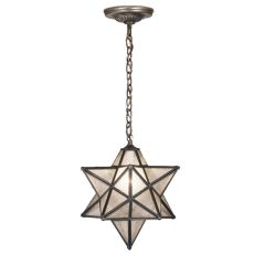 """12"""" W Moravian Star Clear Seeded Pendant"""
