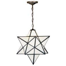 """18"""" W Moravian Star White Pendant"""