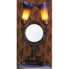 "17"" H Amber/Purple Pond Lily Cherub Mirror Accent Lamp"
