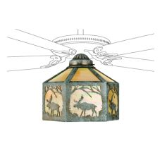 "13"" W Lone Moose Fan Light Shade"