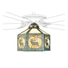 "13"" W Lone Elk Fan Light Shade"