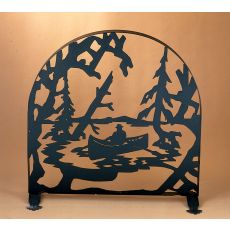 "30"" W X 30"" H Canoe At Lake Arched Fireplace Screen"