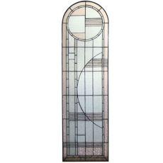 "15"" W X 54"" H Arc Deco Left Sided Stained Glass Window"
