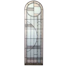 """15"""" W X 54"""" H Arc Deco Right Sided Stained Glass Window"""