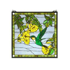 "17"" W X 17"" H Hummingbird Stained Glass Window"