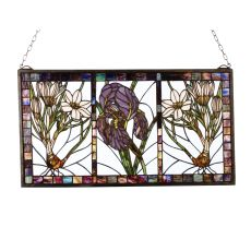 """25"""" W X 14"""" H Spring Triptych Stained Glass Window"""