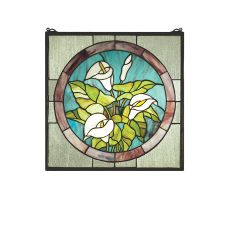 "20"" W X 20"" H Calla Lily Stained Glass Window"