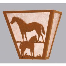 "13"" W Mare & Foal Wall Sconce"