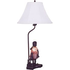 """14.5"""" H Silhouette Girl With Kitten Accent Lamp"""