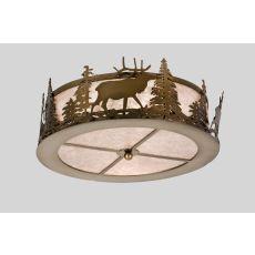 "16"" W Elk At Dusk Flushmount"