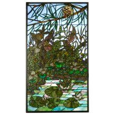 """24"""" W X 42"""" H Woodland Lilypond Stained Glass Window"""