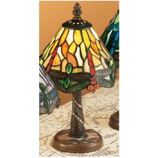 "12"" H Tiffany Hanginghead Dragonfly W/ Twisted Fly Mosaic Base Mini Lamp"