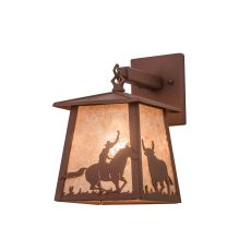 """7"""" W Cowboy & Steer Hanging Wall Sconce"""