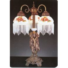 """24"""" H Rose Bouquet 3 Arm Fringed Accent Lamp"""