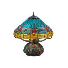 "17"" H Tiffany Dragonfly W/Tiffany Mosaic Base Table Lamp"
